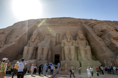 abu simbel: The magnificent ruins of the Great Temple of Ramses II at Abu Simbel in Egypt. Built on the west bank of the River Nile between 1274 and 1244 BC, it was largely seen as a monument constructed by the pharoh to glorify himself.