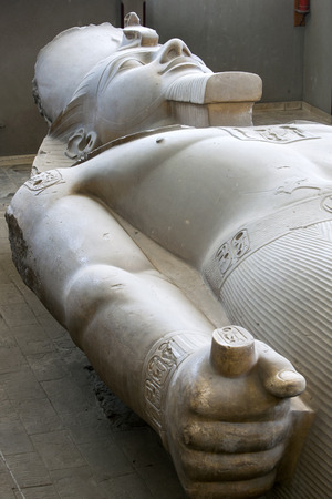 colossal: The colossal limestone statue of Pharaoh Ramesses ll on display at ancient Egyptian capital of Memphis in northern Egypt. Editorial