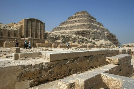 djoser: The Step Pyramid at Saqqara where the funerary structures of the pharaoh Djoser are located. In the foreground is the Courtyard of Heb-Sed. Saqqara is located in the Western Desert near Cairo in Egypt.
