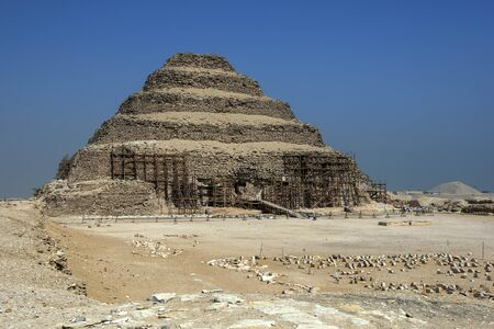 djoser: The Step Pyramid at Saqqara where the funerary structures of the pharaoh Djoser are located. Saqqara is located in the Western Desert near Cairo in Egypt. Editorial
