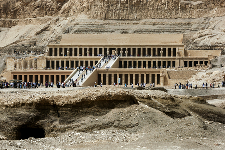 funerary: The magnificent Temple of Hatshepsut at Deir al-Bahri near Luxor in central Egypt. The temple was built by Queen Hatshepsut 1473-1458 BC) as a funerary monument for her father Tuthmosis l and for herself. Editorial