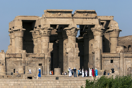 The magnificent columned ruins at the Temple of Kom Ombo. Kom Ombo is situated on the banks of the River Nile in southern Egypt.