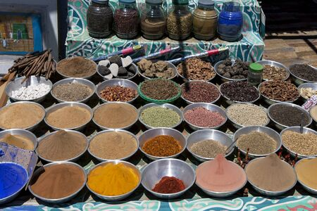 Various spices, seeds and grains for sale at a street side store in the Nubian village of Garb-Sohel on the banks of the River Nile in the Aswan region of Egypt. Editorial
