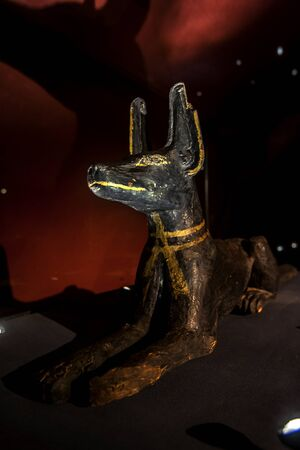 egypt anubis: A statue of the god Anubis at the Alexandria Museum in Egypt.