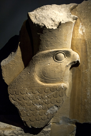 horus: A stone carving of the god Horus displayed at the Alexandria Museum in Egypt. Editorial