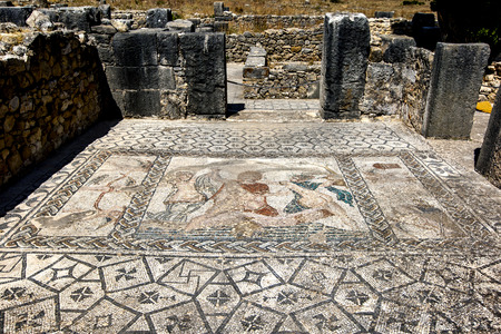 1st century ad: A beautiful mosaic at the ancient Roman city of Volubilis in Morocco. Volubilis, dating from the 1st century AD was the ancient capital of the Roman province of Mauritania.