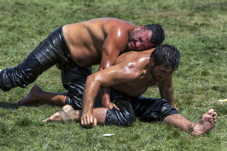 wrestlers: Wrestlers battle for victory on the final day of competition at the Elmali Turkish Oil Wrestling Festival in Elmali in Turkey.