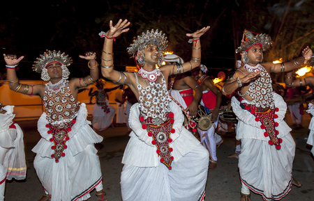 Ves Dancers  (Up Country dancers)  perform during the Esala Perahera in Kandy, Sri Lanka. The Esala Perahera is held to honour the Sacred Tooth Relic of Lord Buddha which is enshrined within the Temple of the Sacred Tooth Relic