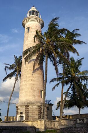 high section: The lighthouse at Point Utrecht Bastion which is situated on the eastern section of the old Dutch Fort in Galle in Sri Lanka. The 18 metre high lighthouse was built in 1938.