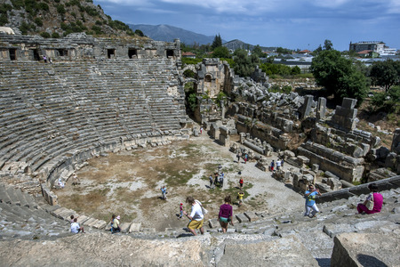 2nd century: Tourists climb over the ruins of the Greco-Roman theatre at the ancient site of Myra at Demre in Turkey. There is evidence a settlement existed at Myra as early as the 2nd century BC. Editorial