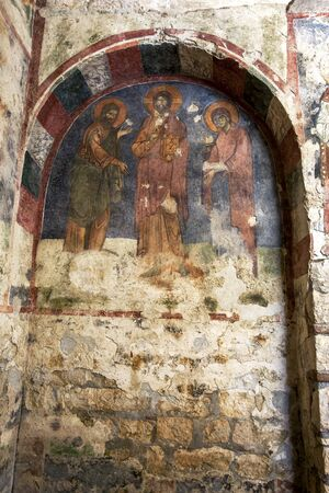 3rd century: An ancient fresco on the interior wall of the Church of St Nicholas  in Demre in Turkey. The church was built in the 3rd century AD and St Nicholas was buried here in 343 AD.