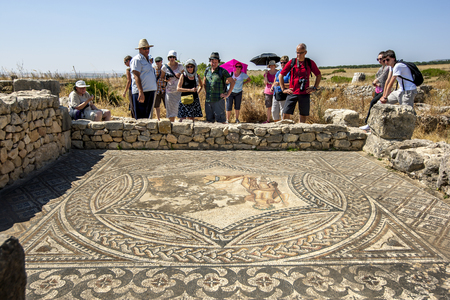 3rd ancient: Tourists inspect an ancient mosaic at Volubilis in Morocco. Volubilis is a former Berber and Roman city in Morocco settled in the 3rd century BC. It is situated near the modern city of Meknes and was the ancient capital of the kingdom of Mauretania.