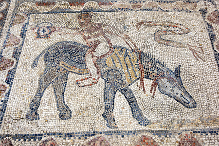 3rd century: An ancient Roman mosaic depicting a man riding a horse at Volubilis in Morocco. Volubilis is a former Berber and Roman city in Morocco settled in the 3rd century BC. It is situated near the modern city of Meknes and was the ancient capital of the kingdom  Editorial