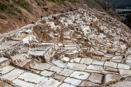 evaporacion: A section of the spectacular Maras salt evaporation ponds. Located in the Sacred Valley of the Incas region of Peru. Foto de archivo