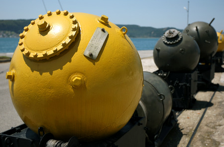 A sea mine produced for use during World War l on display at the Canakkale Naval Museum at Canakkale on the Dardanelles in Turkey.