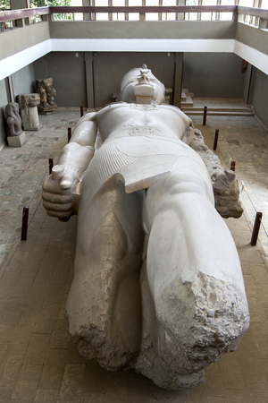 The colossal carved limestone statue of Pharaoh Ramesses ll on display the ancient Egyptian capital of Memphis, modern day Mit Rahina,  in northern Egypt. Editöryel