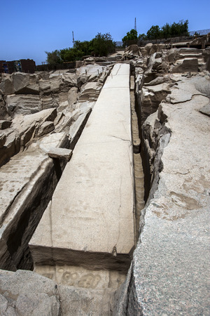 The Unfinished Obelisk at the ancient Western Quarry near Aswan in Egypt. The obelisk was being constructed for the Pharaoh Seti I.