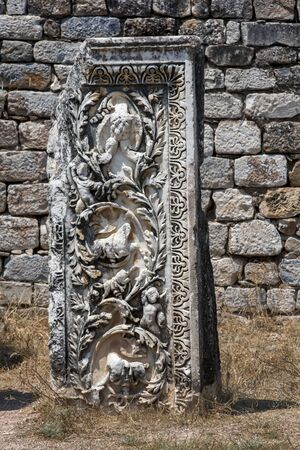 A beautifully carved white marble cornice which originally stood in a section of the Hadrianic  Baths at the ancient site of Aphrodisias in Turkey. These Roman baths date to the 2nd century AD.