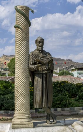 A statue of Galen of Peramon, also known as the Great Physician Galen at Bergama in Turkey. He was born in ancient Pergamon in 129-130 AD and was considered the founder of experimental medicine, anatomy,  sports science and physiology in ancient times.