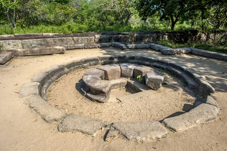 The foundations of Magul Maduwa where the wedding ceremony between King Kavantissa and Princess Viharamaha Devi took place at the ancient Buddhist site of Lahugala Magul Mahavihara. This site is located near Pottuvil on the east coast of Sri Lanka.