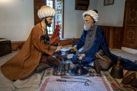 A manikin display showing 15th century pioneer of Turkish Experimental Medicine Sabuncuoglu Serefeddin (right) treating snake venon at Edirne Sultan Bayezid Hopital (1488 AD) at Edirne in Turkey.