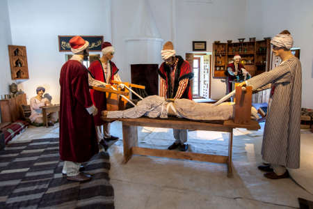 A manikin display showing 15th century Treatment of Vertebra Dislocation using traction at Edirne Sultan Bayezid Hopital (1488 AD) at Edirne in Turkey.