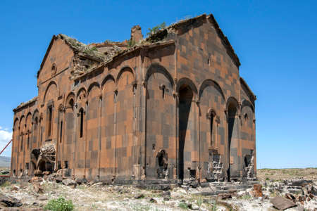 The well preserved ruins of at the Cathedral at Ani in Turkey. It was built by King Sembat in 987 AD. Ani was built in the 10th century and became the capital of the Armenian empire.