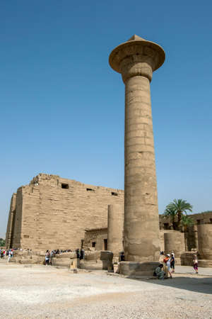 The one remaining papyrus column of the Kiosk of Taharqa at the ancient ruins of Karnak Temple (Temple of Amun) at Luxor in Egypt. Taharqa was a 25th Dynasty pharaoh  (690-664 B.C.)