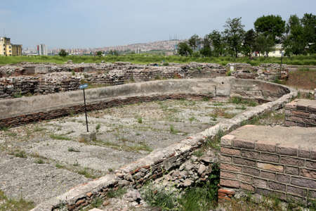 The Piscina (pool) at the ancient Roman Bath ruins at Ankara in Turkey. The baths date to the reign of Roman Emperor Caracalla (AD 212-217).