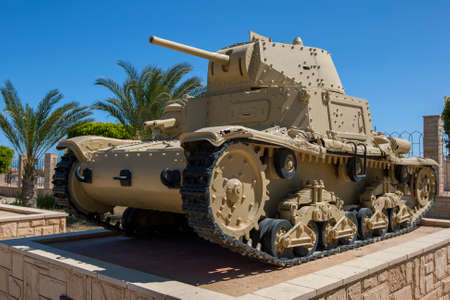An Italian Carro Armato M13/40 tank on display at the El Alamein War Museum in northern Egypt. Editorial
