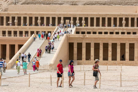 The magnificent Temple of Hatshepsut at Deir al-Bahri near Luxor in central Egypt. The temple was built by Queen Hatshepsut (1473-1458 BC) as a funerary monument. Editorial