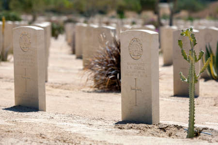 Commonwealth war graves at El Alamein War Cemetery in northern Egypt. The cemetery contains the graves of British Empire soldiers who died during World War Two. Editorial