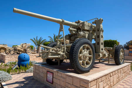 An Italian Anti Aircraft and Anti Tank Artillery Gun M90/53 on display at the El Alamein War Museum in northern Egypt. Editorial