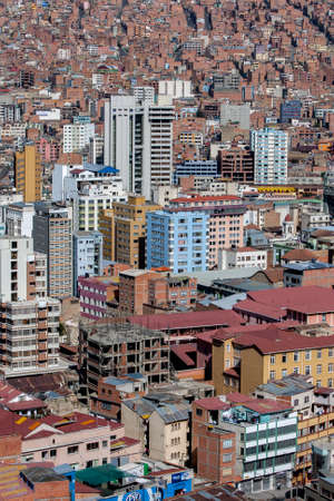 A view showing the density of buildings in downtown La Paz in Bolivia.