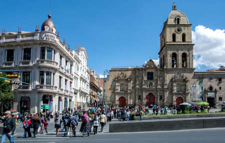 A view of Plaza Mayor de San Francisco showing Galeria La Republica and the Basilica of San Francisco at La Paz in Bolivia. Both buildings are listed as Monumental Heritage of the city.