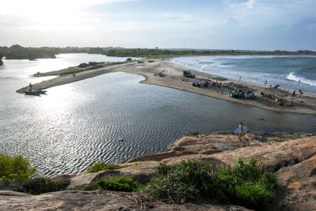 The surf camp and lagoon at Elephant Rock which is located near Arugam Bay on the east coast of Sri Lanka.