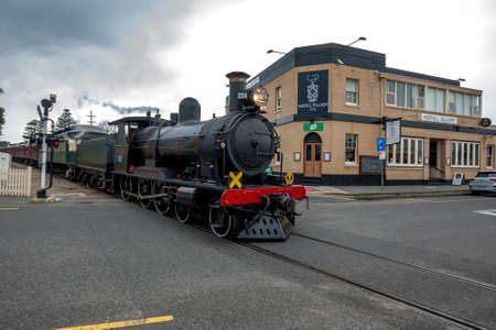 The Cockle Train driven by RX 224, a 1915 built steam locomotive, departs Port Elliot station in South Australia, Australia. The train is run by the SteamRanger Heritage Railway. Editorial