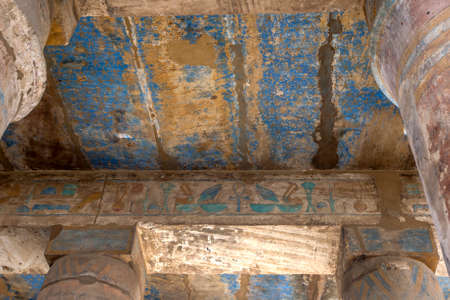 A section of the painted ceiling within the Festival Temple of Thutmose III, c. 1479-25 B.C. at Karnak Temple (Temple of Amun) at Luxor in Egypt.