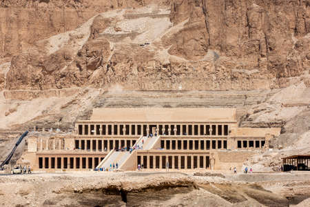 The Mortuary Temple of Hatshepsut at Deir al-Bahri near Luxor in central Egypt. The temple was built by Queen Hatshepsut (1473- 1458BC) as a funerary monument.