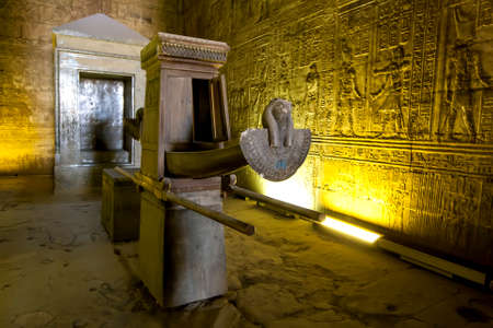 The wooden barque within the Sanctuary of Horus at the Temple of Horus at Edfu in central Egypt. it was used to carry a statue of Horus during processions. Editorial