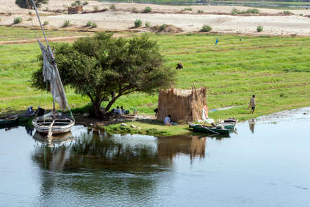 A camp set up on island in the middle of the River Nile on a section from Luxor to Esna in Egypt. Editorial