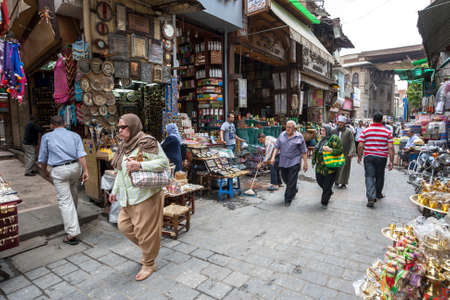 A busy section of the Khan el-Khalili Bazaar at Cairo in Egypt selling souvenirs.