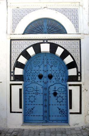 Blue oriental doors in Sidi Bou Said,