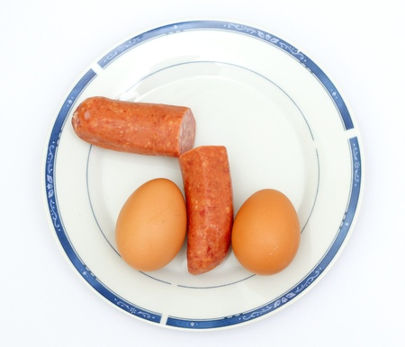 Eggs and cutted sausage on the plate, looking like penis and testicles Stock Photo