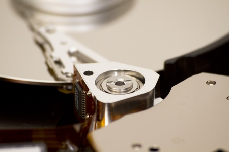 Close up of open hard disk drive, cylinders and heads Stock Photo - 9376810