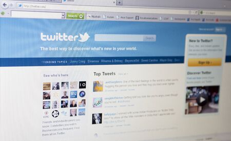 Rijeka, Croatia - April 11th 2011: Close up of Twitter's main page on the web browser. Twitter is very popular social networking site worldwide. Stock Photo - 9371702