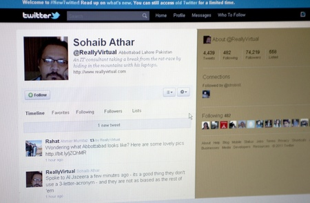 RIJEKA, CROATIA - MAY 2:Twitter.com site profile of Mr. Sohaib Athar. Mr. Athar was publishing news on twitter.com parallel with Osama Bin Laden have been captured on May 2nd 2011.