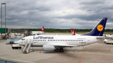COLOGNE - June 23: Boeing 737-500 ready for passenger embarkation in Cologne airport on June 23, 2011 in Cologne, Germany.