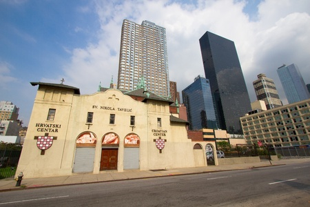 immigrants: Croatian center with church in Manhattan, New York, wide angle shot Editorial