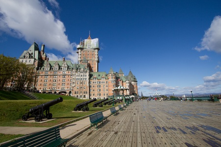 Chateau Frontenac, best known landmark of Quebec, Canada Editorial